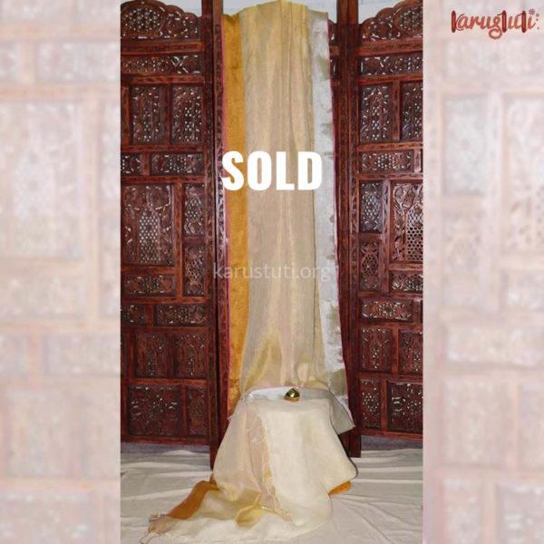 Tissue interweave Ganga jamuna linen handloom saree