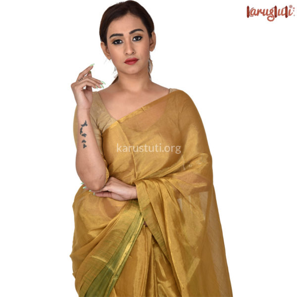 Luxurious Metalic Linen Handloom Saree