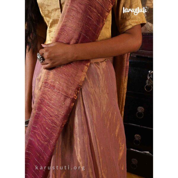 metallic handloom saree