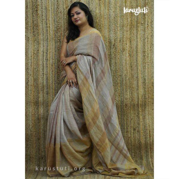 Plain and Zari Linen Handloom Saree