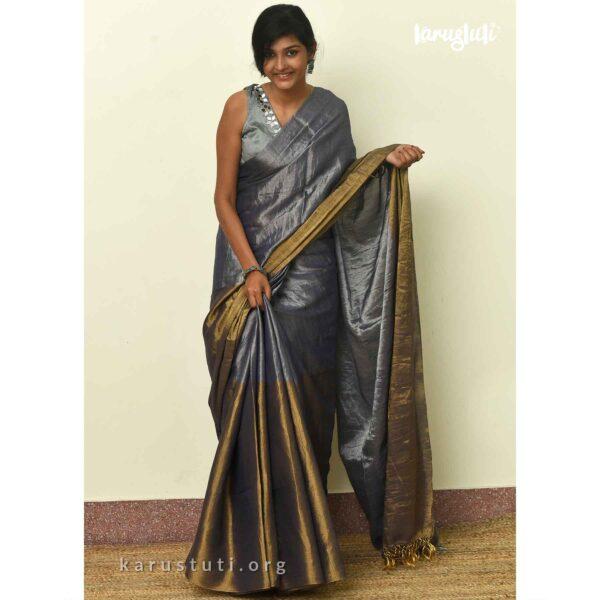 Luxurious Metallic linen Handloom Saree